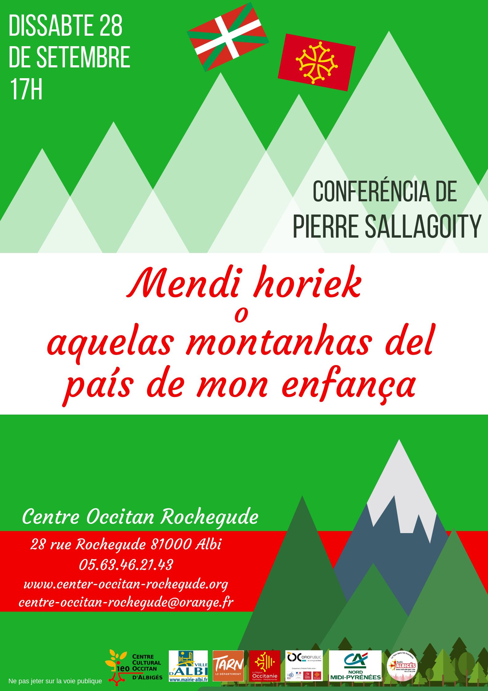 Conferéncia «Mendi horiek o aquelas montanhas del pais de mon enfància» per Peyo Sallagoity